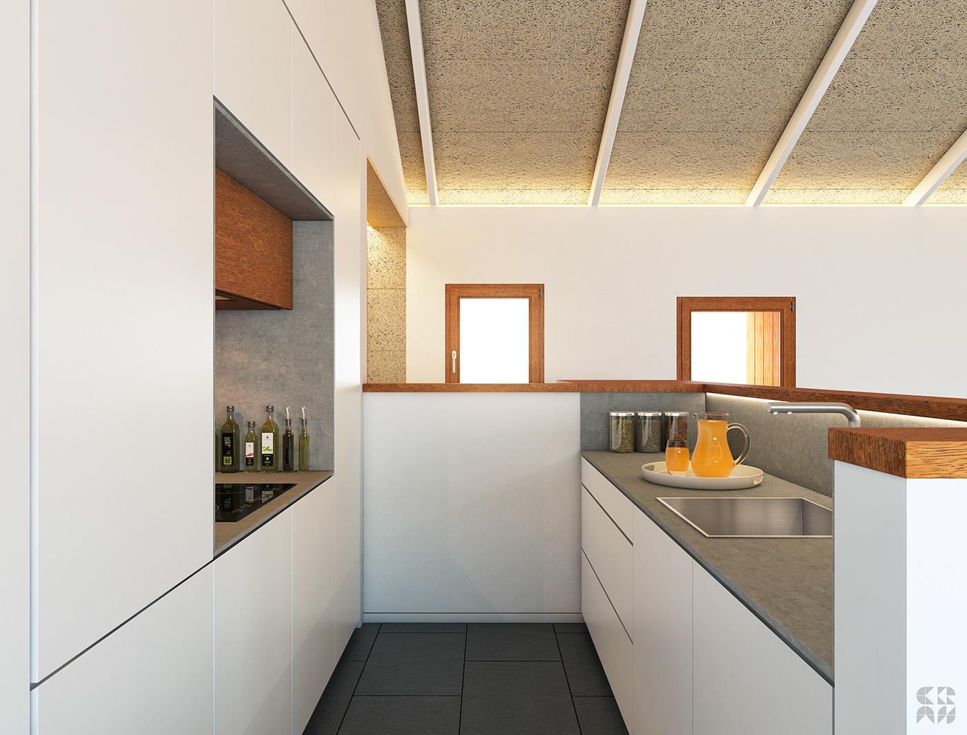 3D Render Interior design photoshop vray 3dmax minimal house refuge