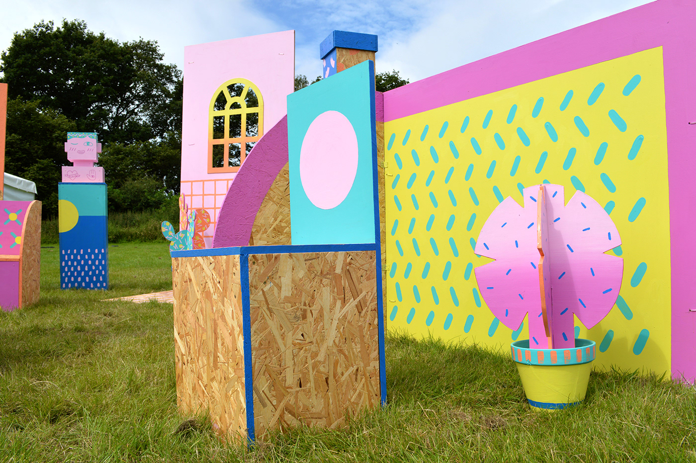 brainchild festival set design  seating area festival festival design colour barbie playhouse 3d design