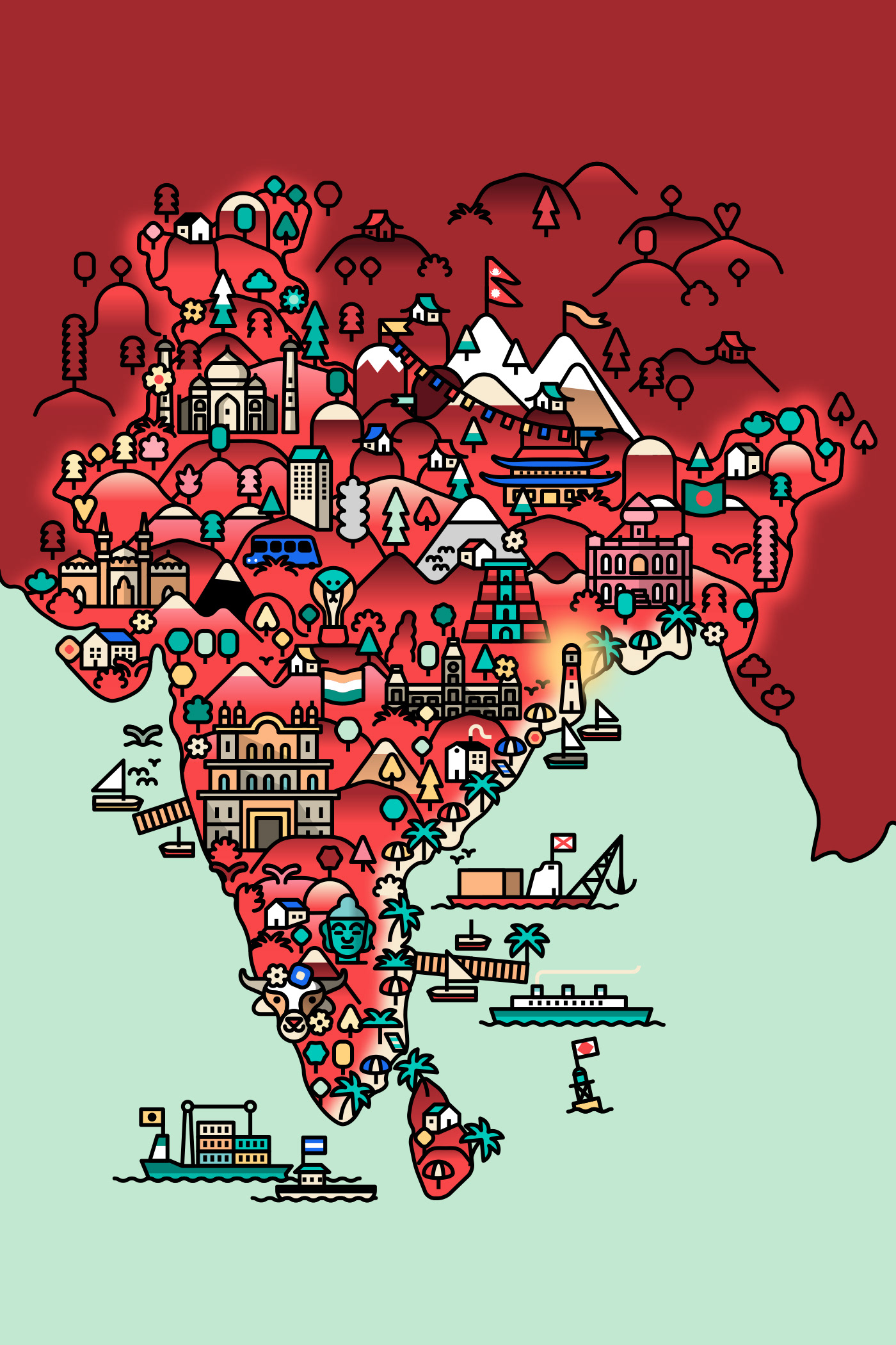 ILLUSTRATION  maps kids barcelona marmolejo gifs japan china Europe illustrated map