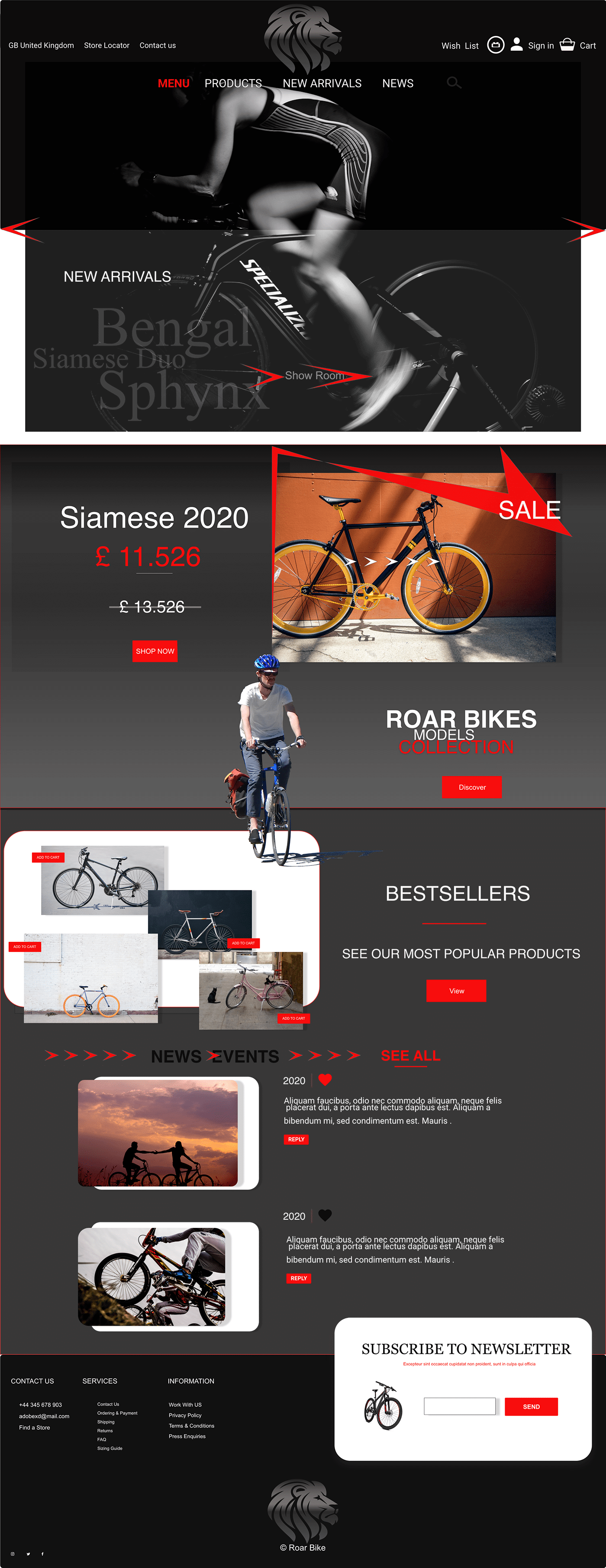 Bike design e-commerce UI/UX