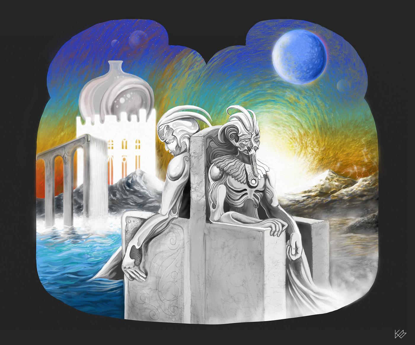 ILLUSTRATION  surrealism Digital Art  Alex Grey Giger fantasy