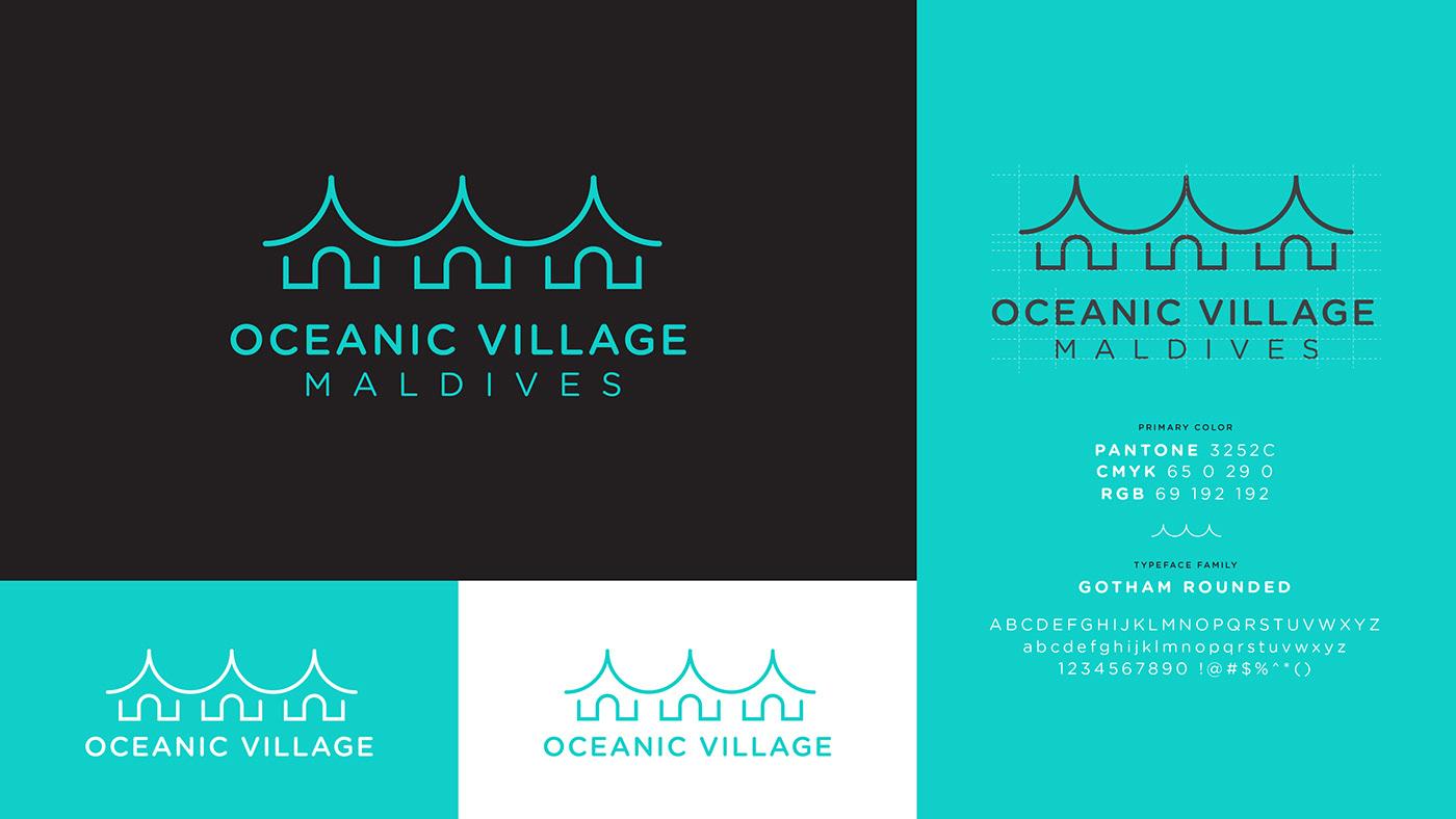 logo beach Holiday resort waves Ocean brandguide
