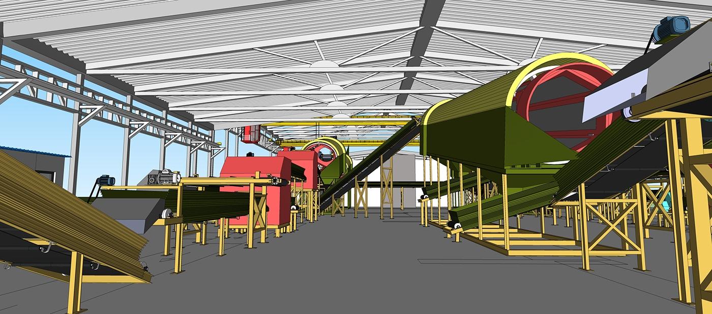 industrial design  3d modeling Plant Illustration 3D Visualization Plant Visualisation Industrial Visualization industrial 3d