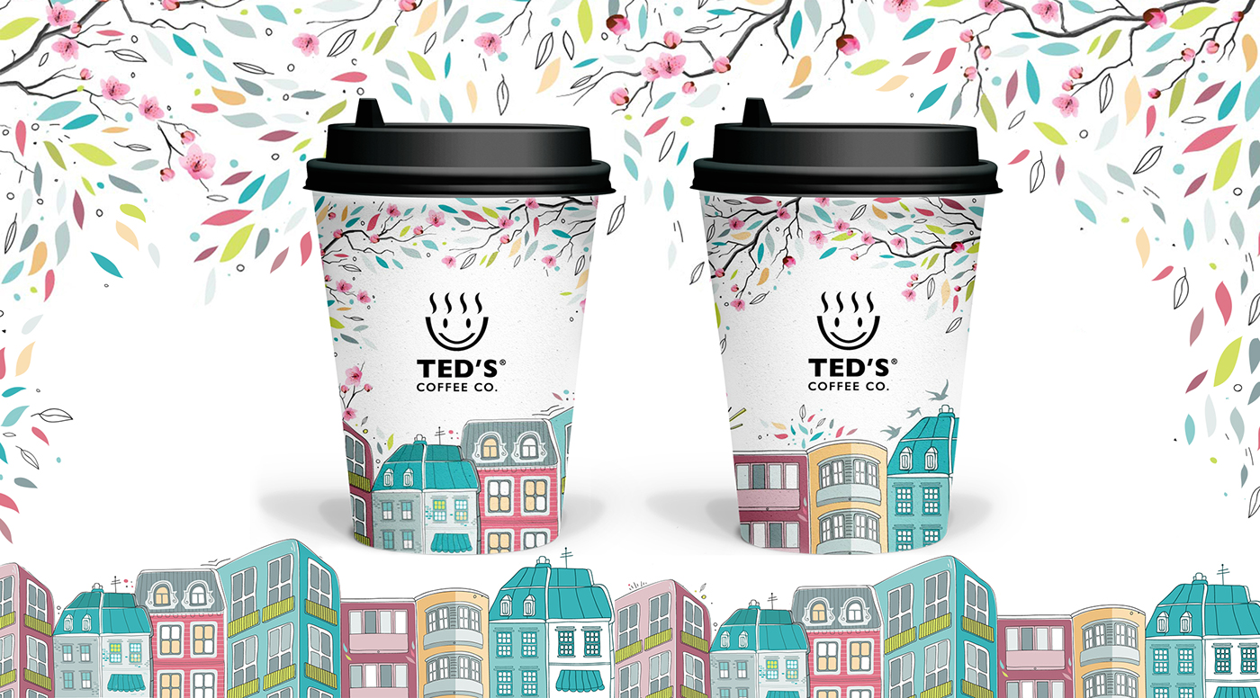 coffee branding,spring illustration,bucharest illustration,urban illustration,city,coffee shop design,branding ,Packaging,coffee cup design,spring design