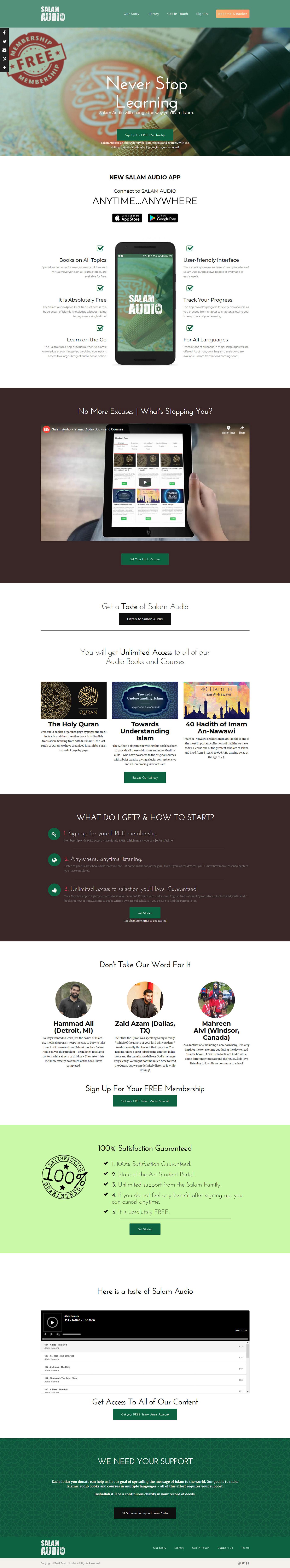 audio app Islamic App  web development  website template learning template Blog App Landing Page