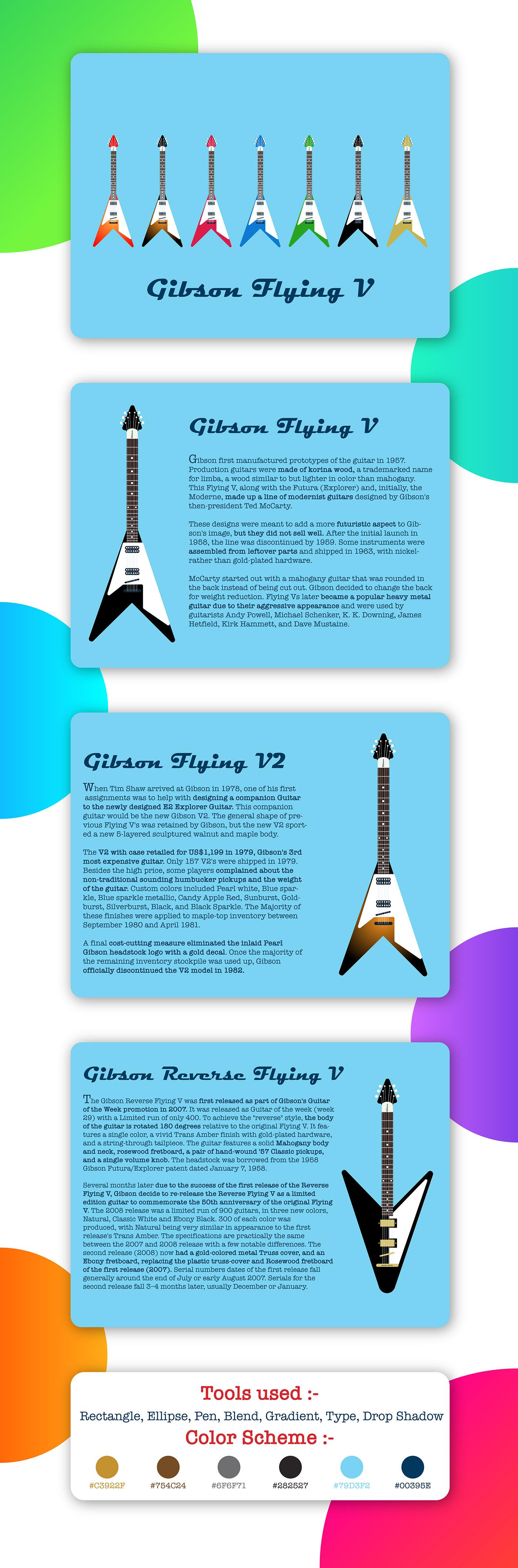 adobe Illustrator ILLUSTRATION  Gibson guitar music flat artsy Digital Art  design