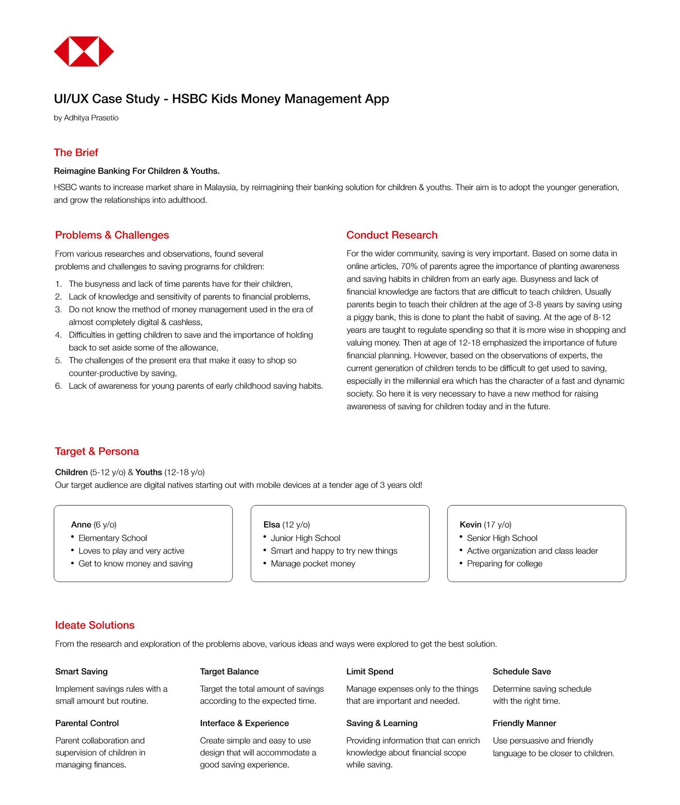 UI/UX design Mobile app banking children money red kids management saving