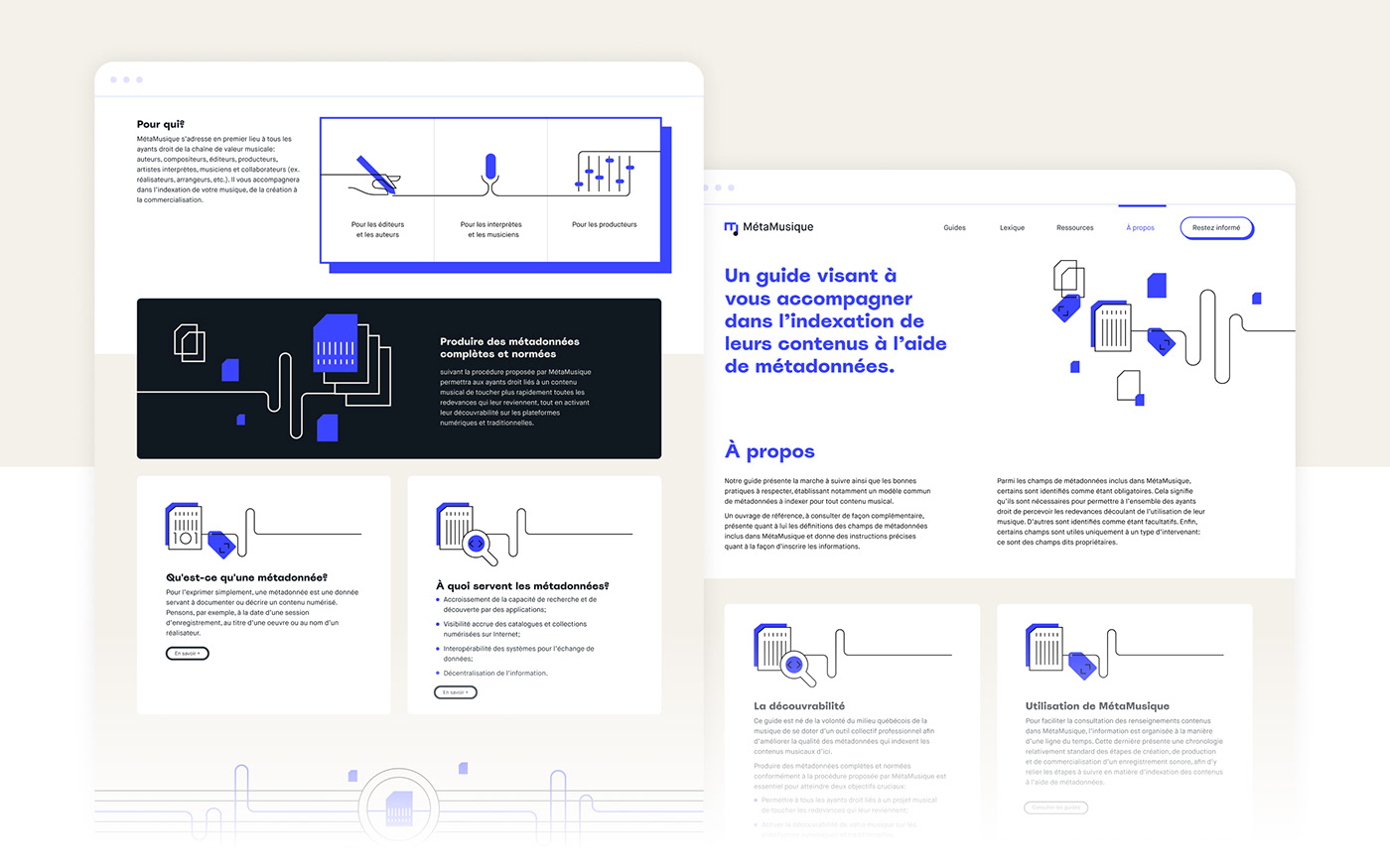 music meta Data Outline Illustration metadata tech flow search bar Guide guideline