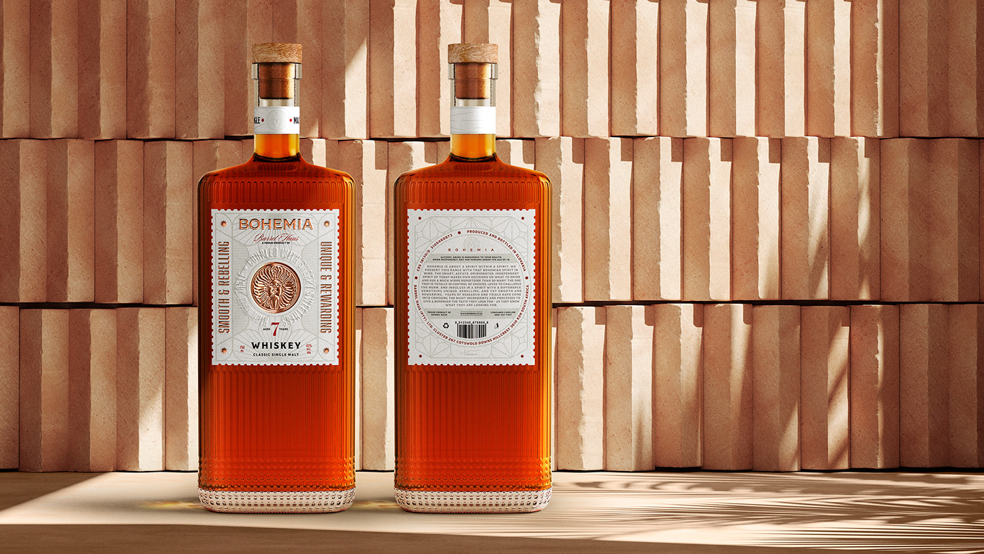 Bohemia Whiskey Label and Packaging Design.
