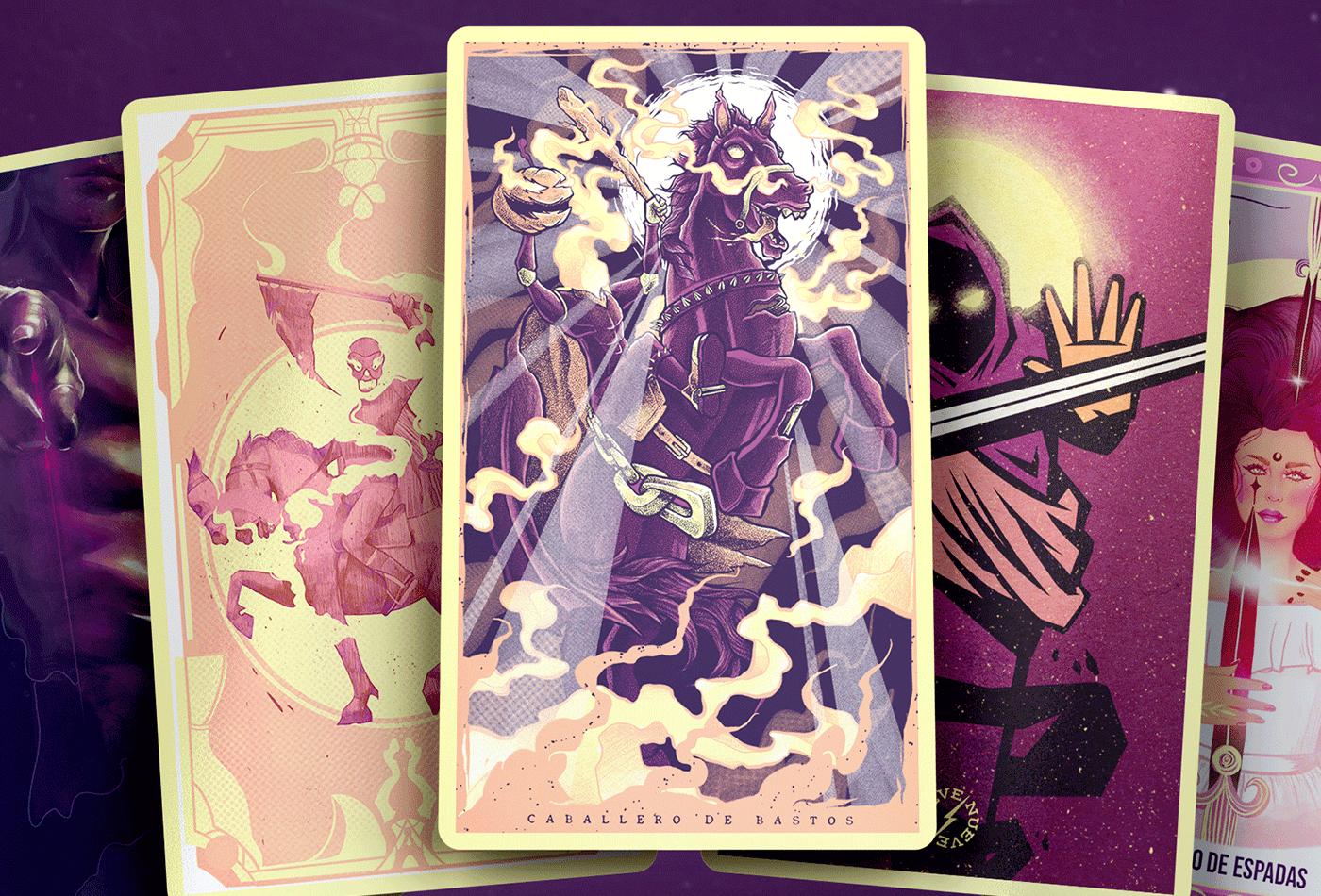collab Halloween tarot adobe cards Character digitalart Illustrator photoshop Procreate