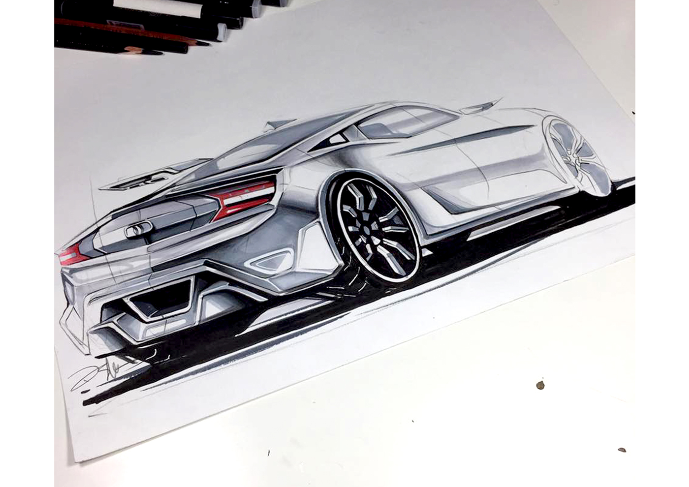 Concept Car Design, Sketch Rendering