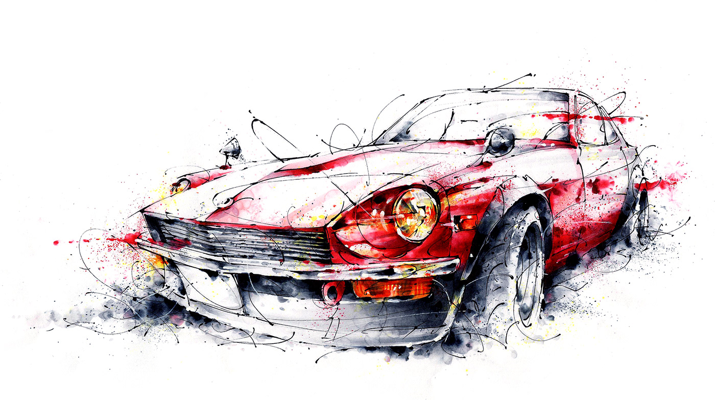 240z art artwork CarDrawing cero a cien Copic Datsun Drawing  ILLUSTRATION  markers