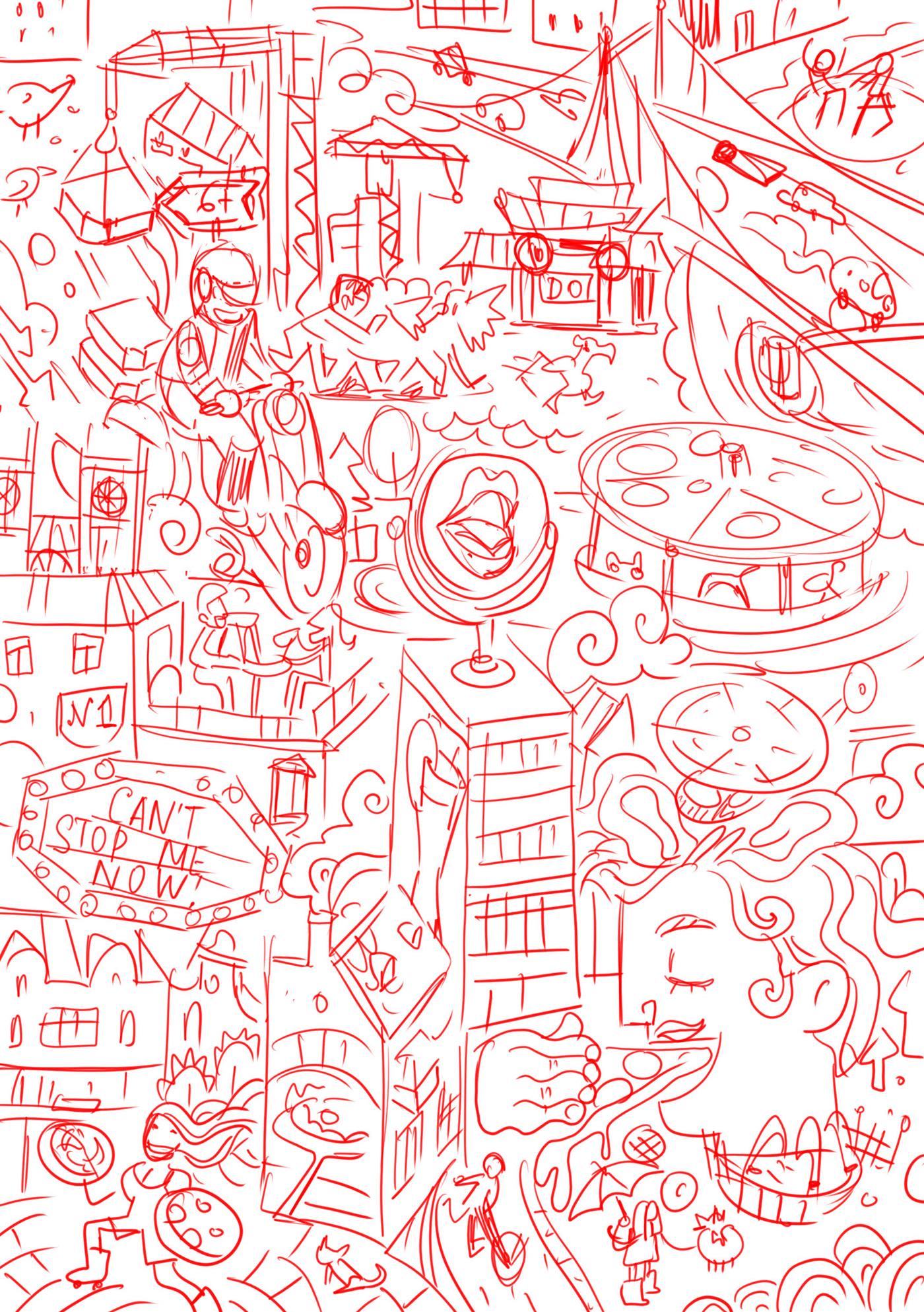 ILLUSTRATION  Pizza details Food  Cat Packaging sketch sketching