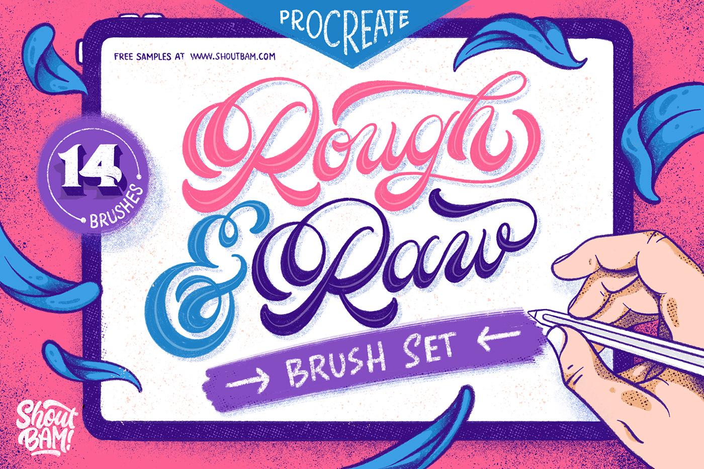 ipad pro brushes Brush Set freebie free free brush Procreate ILLUSTRATION  lettering product