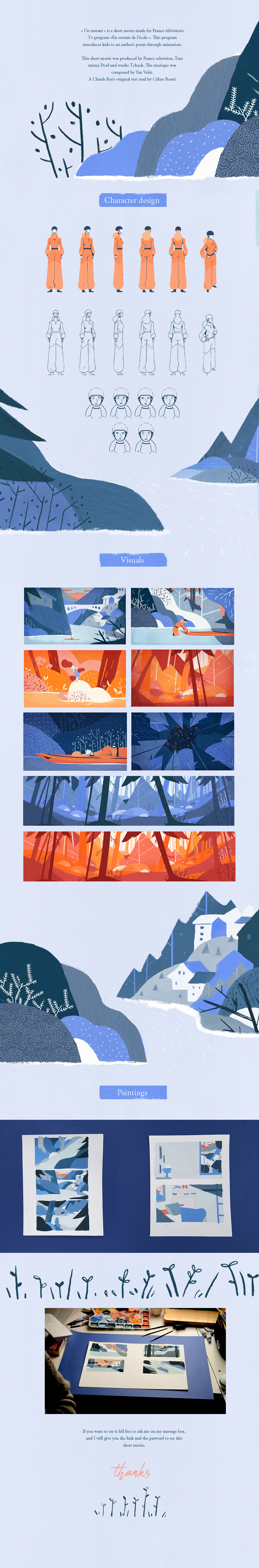 water painting   gouache traditional animation  forest television woman blue stones