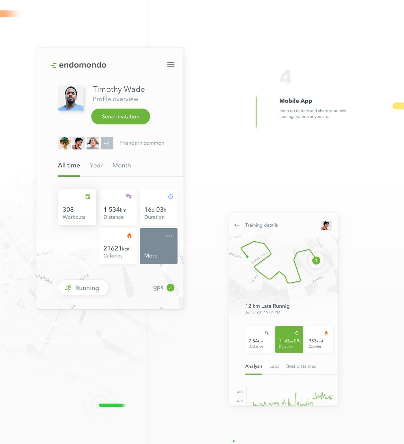 endomondo 10Clouds sport fitness app dashboard mobile redesign UI running