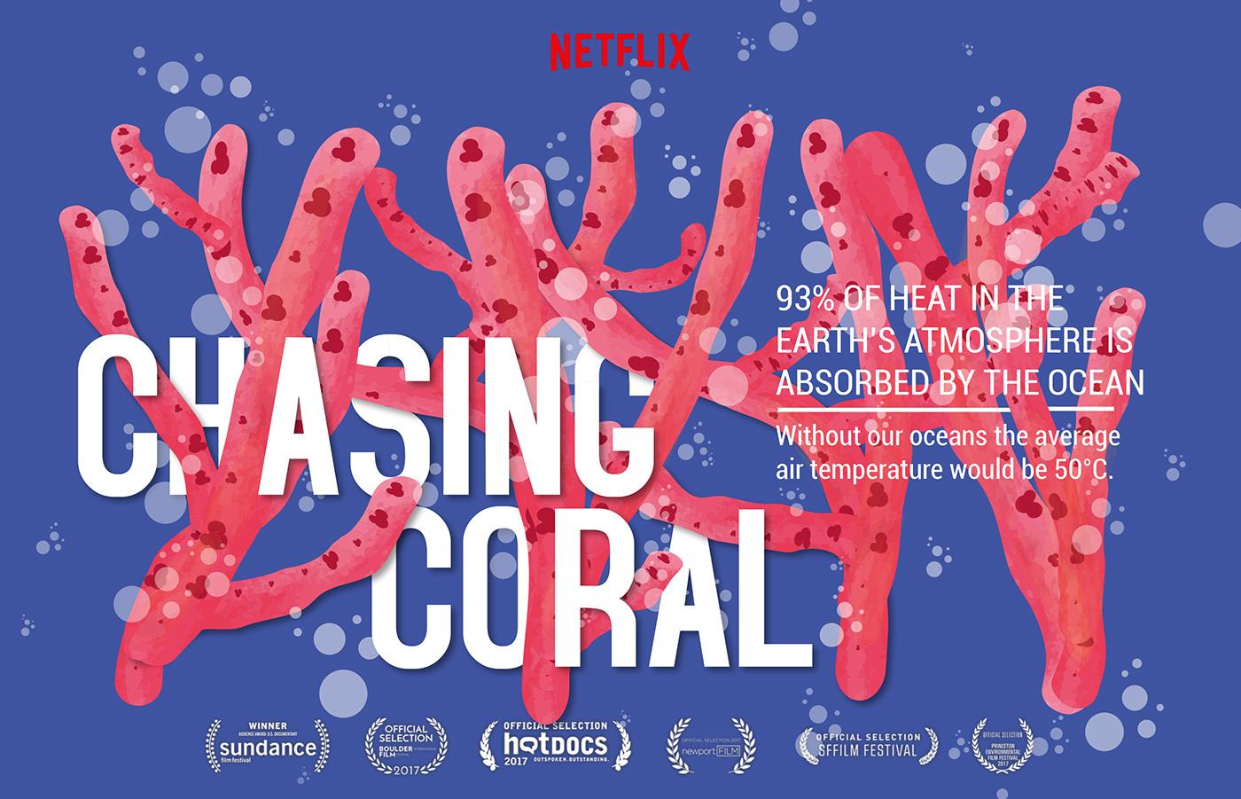 chasing coral coral ILLUSTRATION  Ocean sundance hotdocs poster illustration Netflix