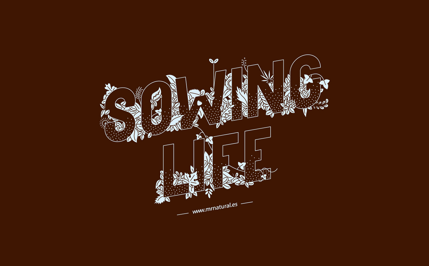 sowing life textile stamp Serigraphy one ink dark brown lightblue t-shirt