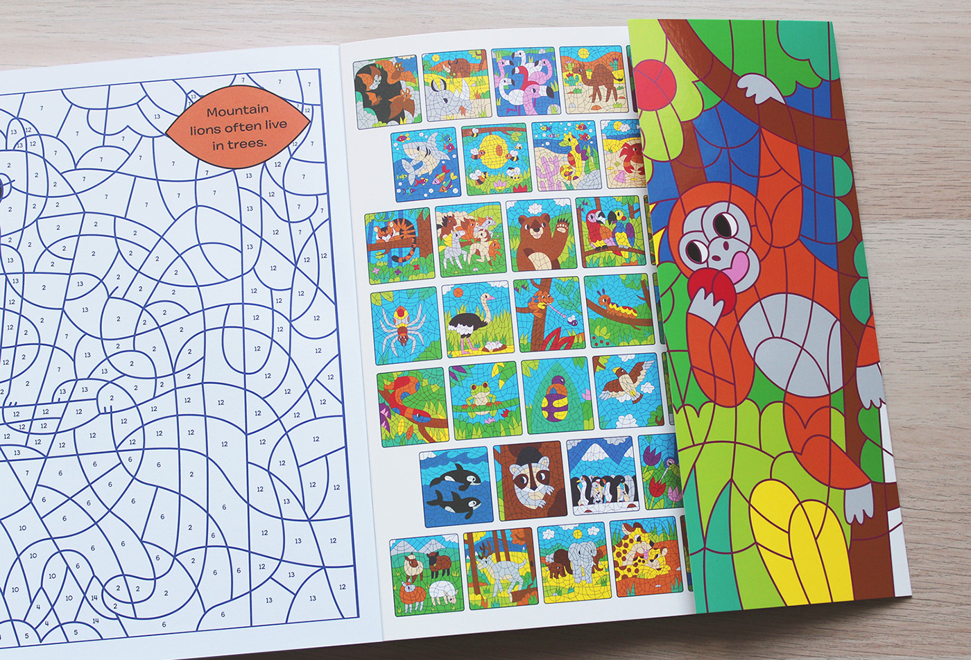 COLOURING colour by numbers colour colouring book wild animals animal Nature activity children book