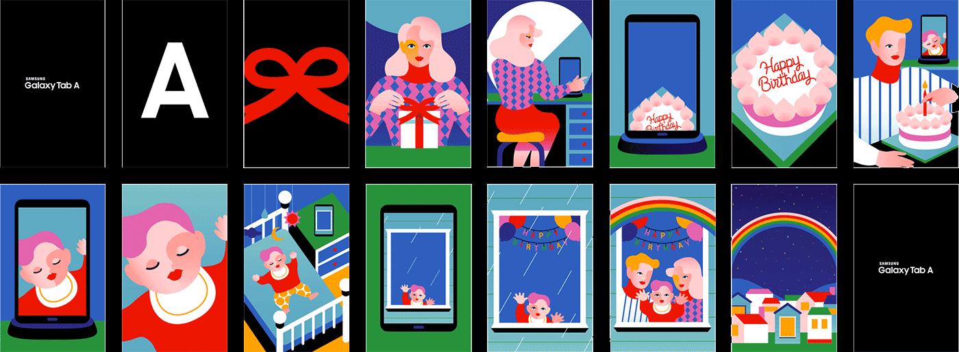 Adobe Portfolio Samsung vector color Birthday family rainbow screensaver