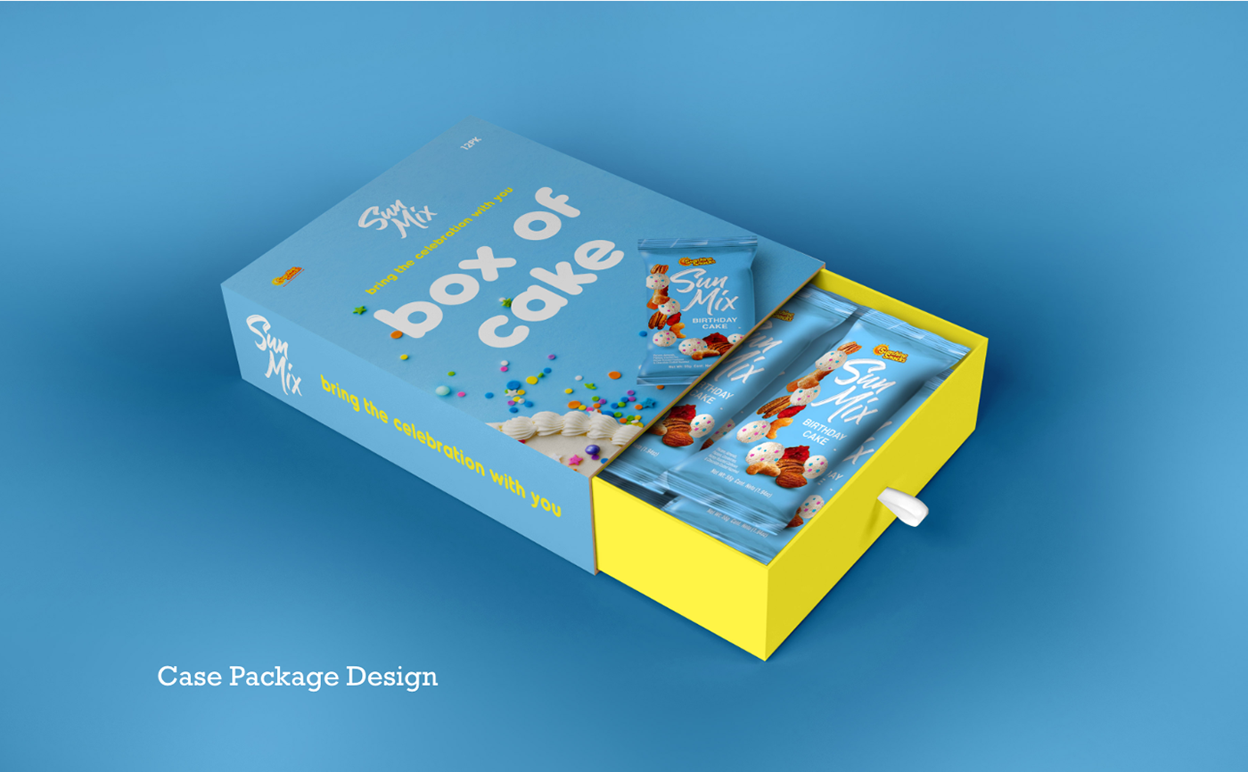 Packaging design for birthday cake snack project.