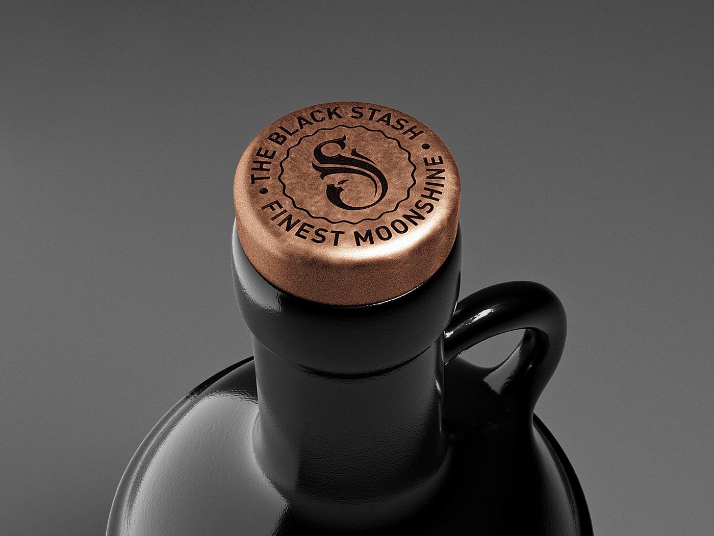 Whiskey black bottle glass Moonshine Packaging spirit vintage prohibition beverages premium