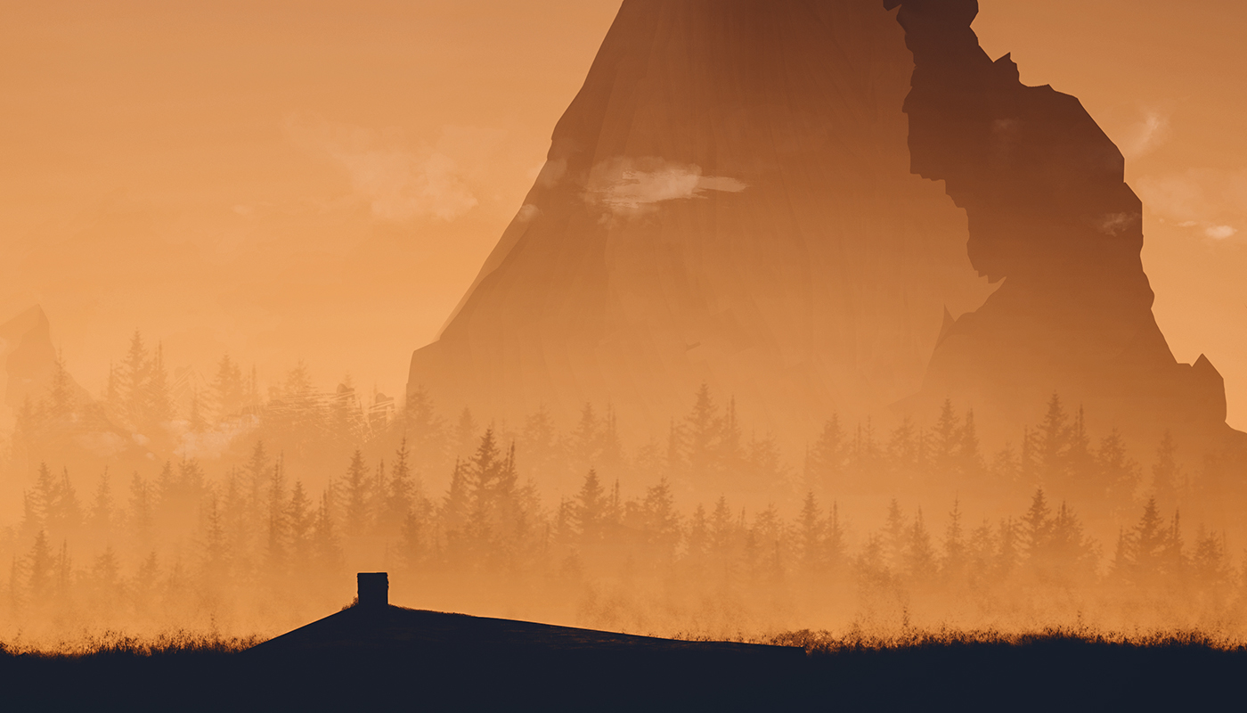 Landscape artwork forest SKY stars Sunrise aurora mountains digital
