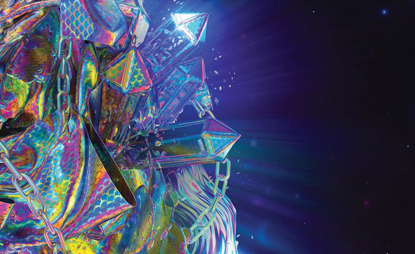 Space  octane crystal chains abstract nebula 3D cinema4d rainbow crazy