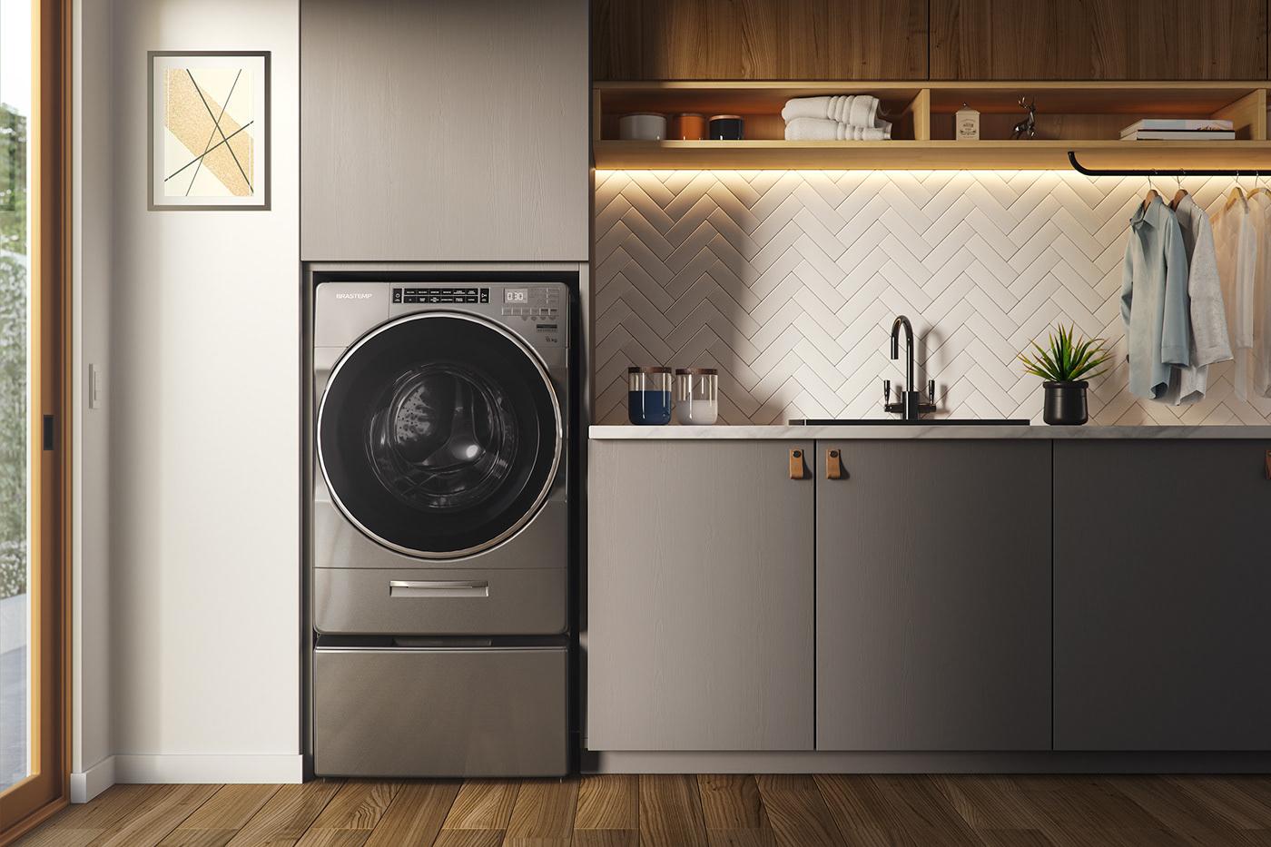 3D animation  brastemp CGI laundry machine Miagui product wash whirlpool