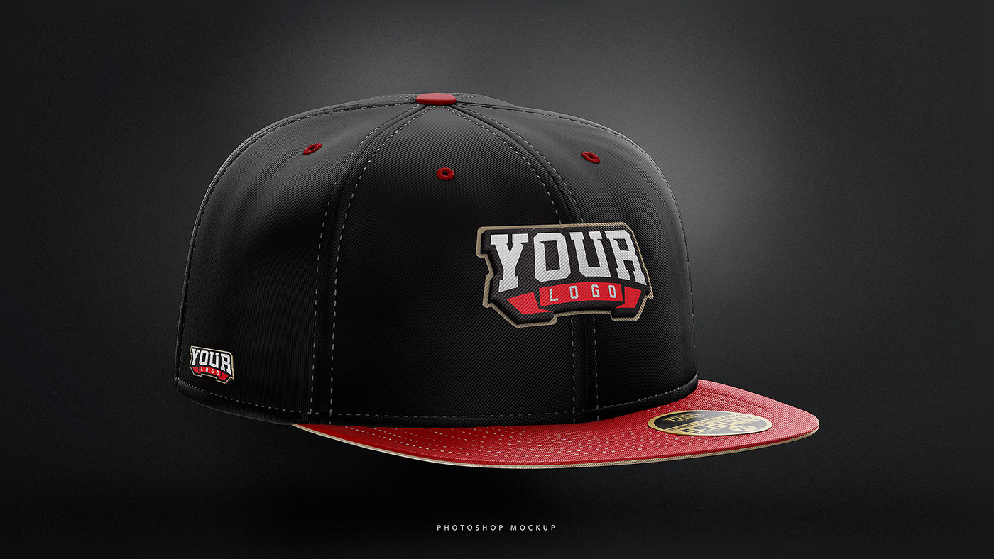 bb1452590bb Flat Brim Hat Fitted   Snapback Photoshop mockup. on Behance
