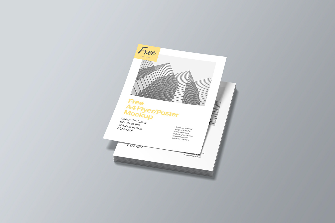 3D a4 design flyer free Mockup photoshop poster template