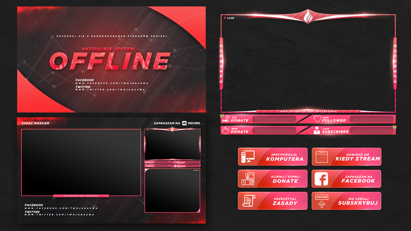 FREE TWITCH STREAM OVERLAY TEMPLATE 2018 on Behance
