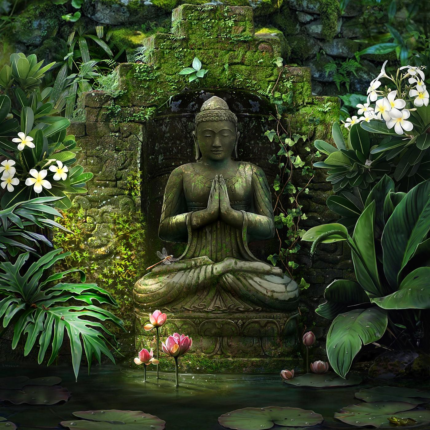 background Buddha cover digitalart esoteric fantasy ILLUSTRATION  Lotus sacred