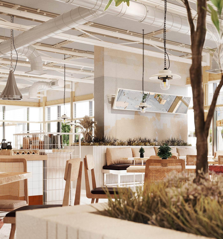 3D 3dsmax cafe corona render  design Interior interior design  restaurant