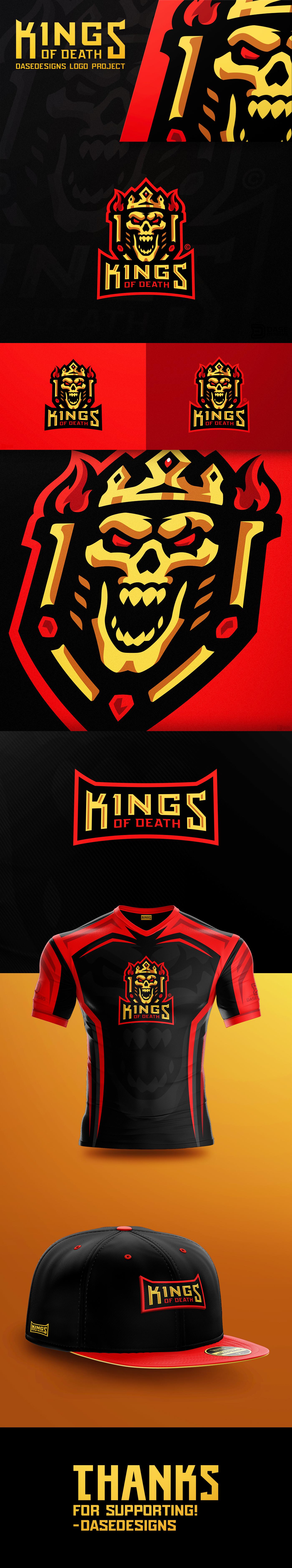 skull design esports Gaming Logo skull team logo egyptian gold fire death king logo esports logo course