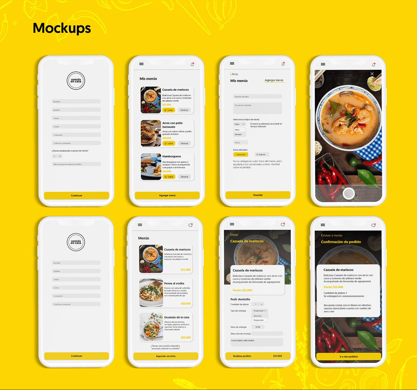 adobexd Appdesign foodapp   Illustrator interactiondesign mockups photoshop UI ux wireframes