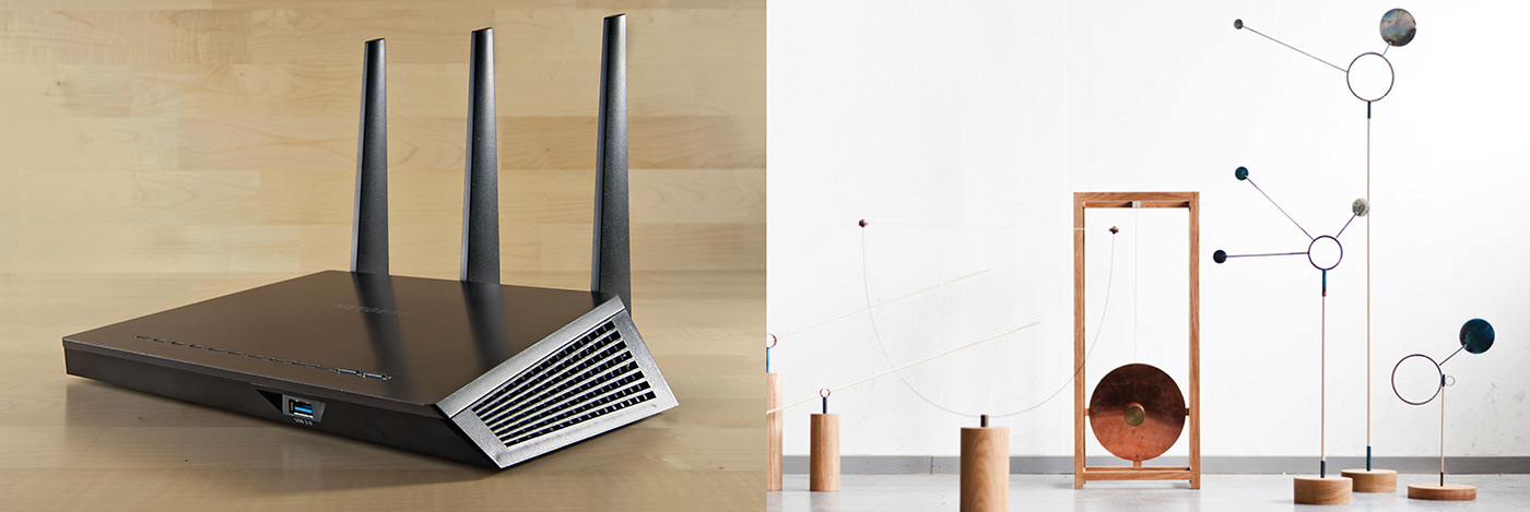 Wi-Fi Router kinetic art product design  Router Antenna interior design  Visualization Effect ux/ui Affordance design