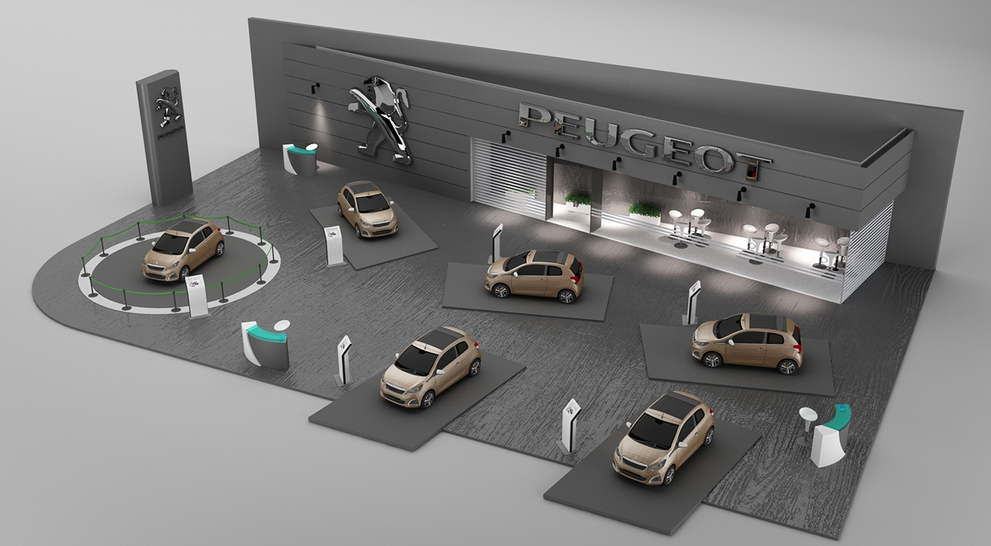 Exhibition Stand Vray : Exhibition stand for peugeot made in d max vray on
