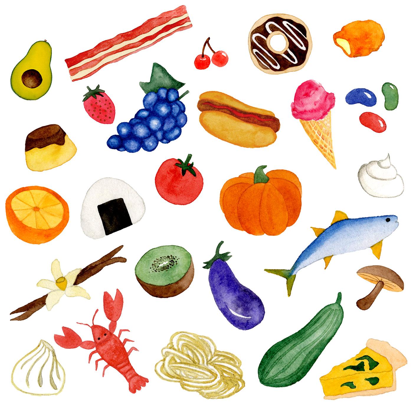 children's book ILLUSTRATION  Food  watercolor alphabet ABC kid yummy pattern adobeawards