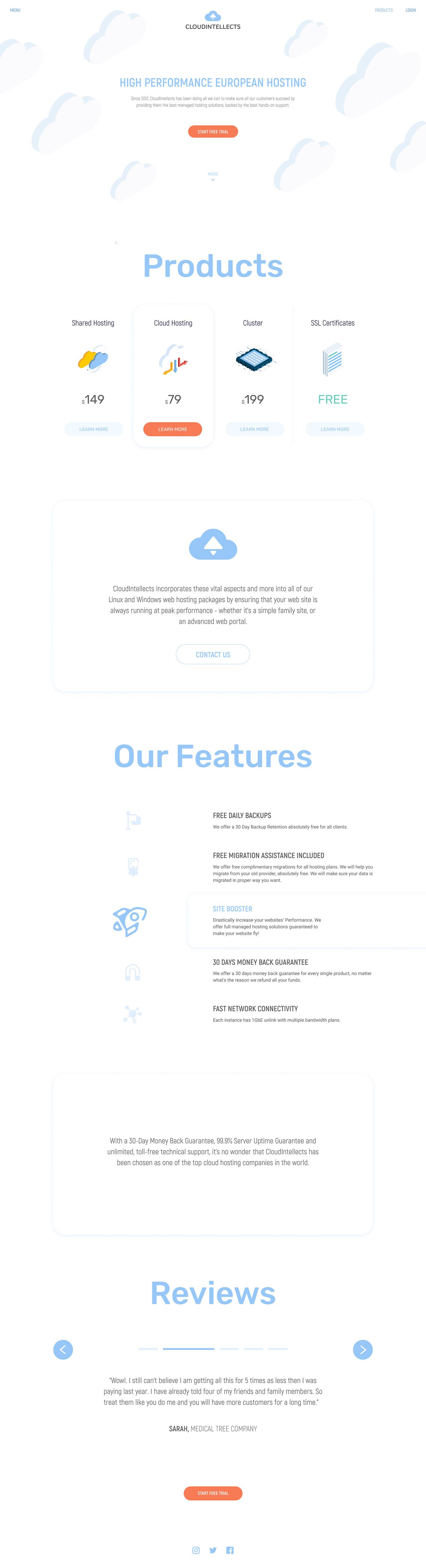 cloud server home landing page clean White Minimalism