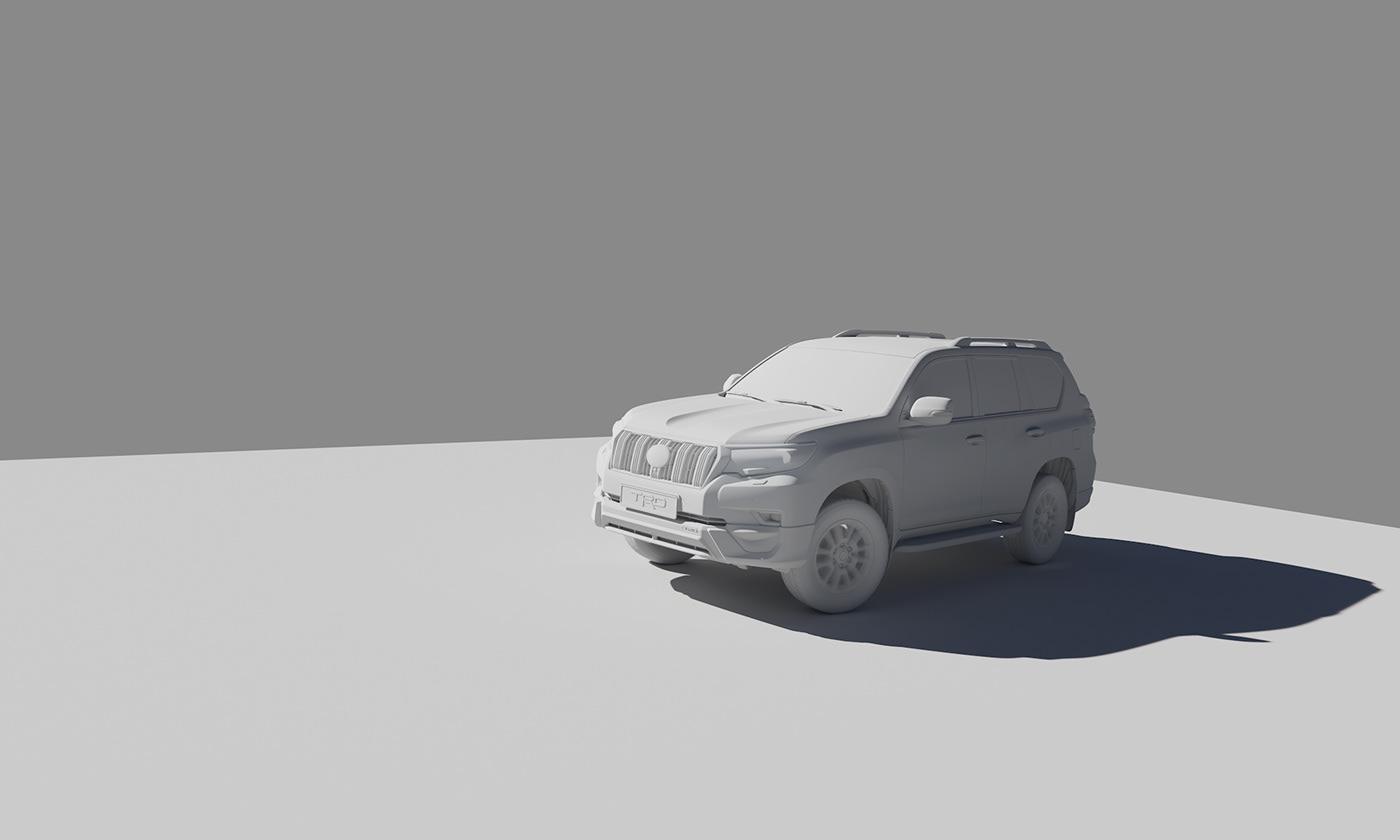 toyota Land Cruiser Prado car 3D CG Render Matte Painting retouching  postproduction