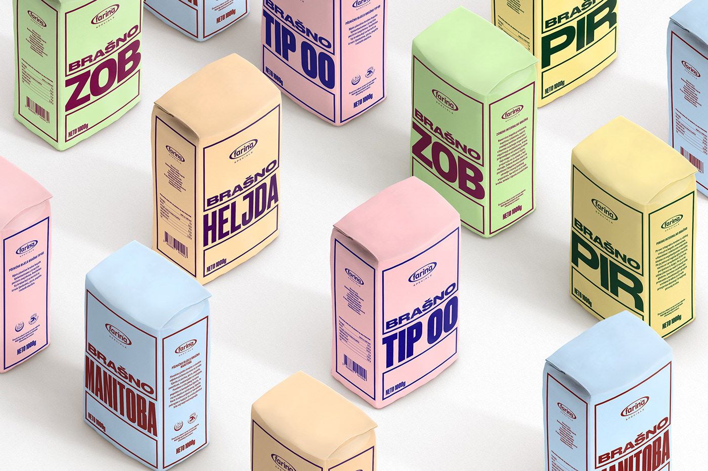 colors farina flat flour Packaging pastel Speciale typography