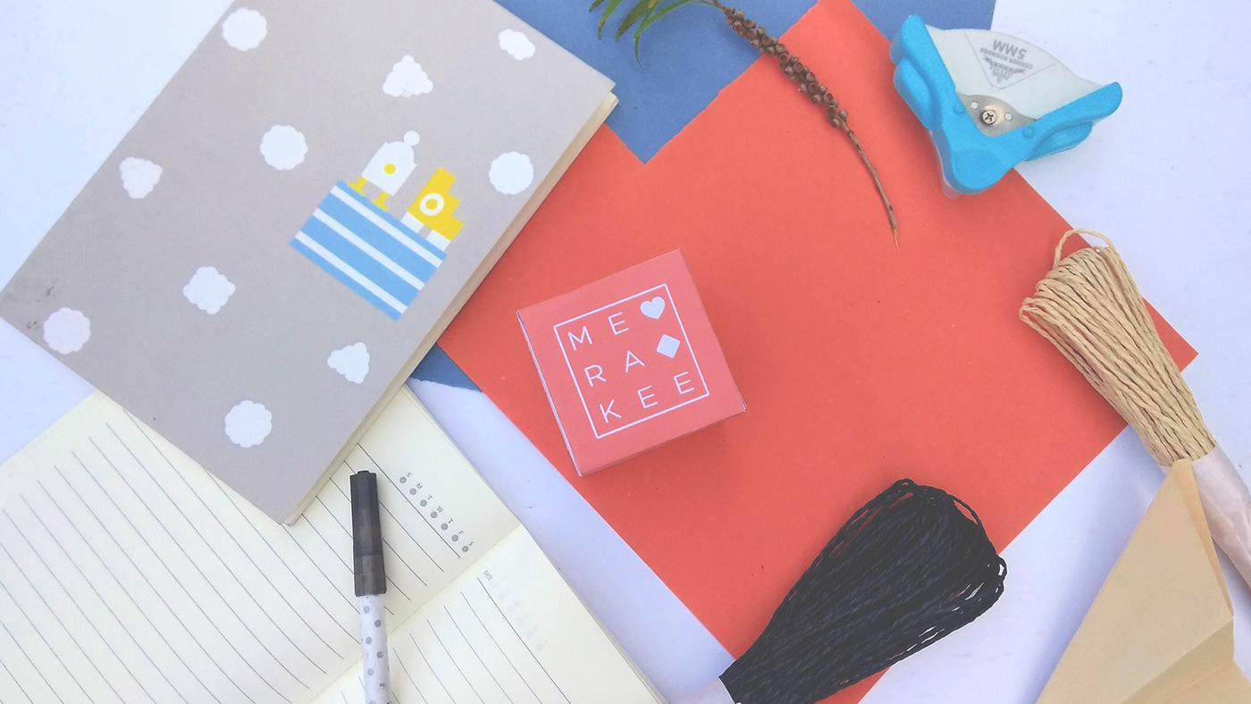 merakee branding  gift service art direction  cute pastel gifts brand ILLUSTRATION