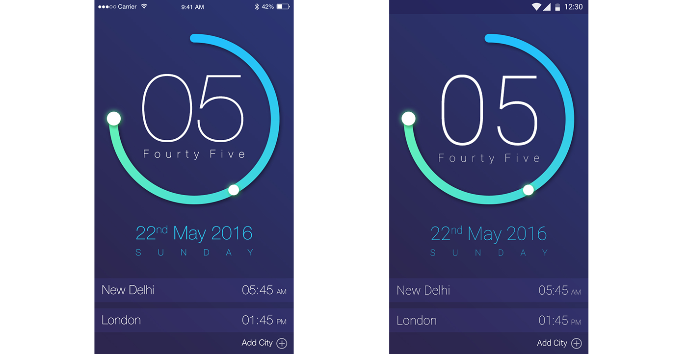 Clock App UI Design (Free PSD Download) on Behance