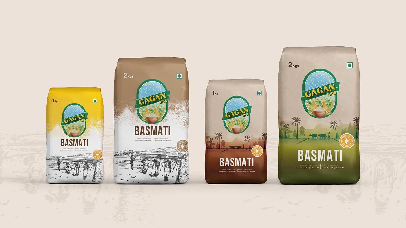 brand identity branding  Digital verto gagan rice gagan rice branding packagaing design product design  Rice Packaging