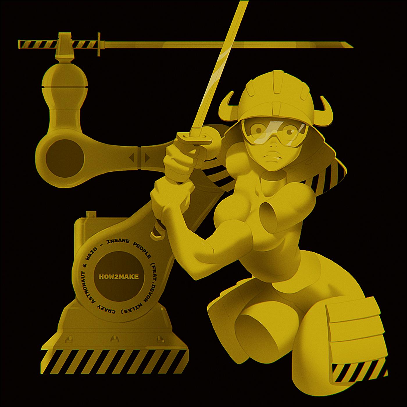 industrial robot arm samurai katana Sword female body parts