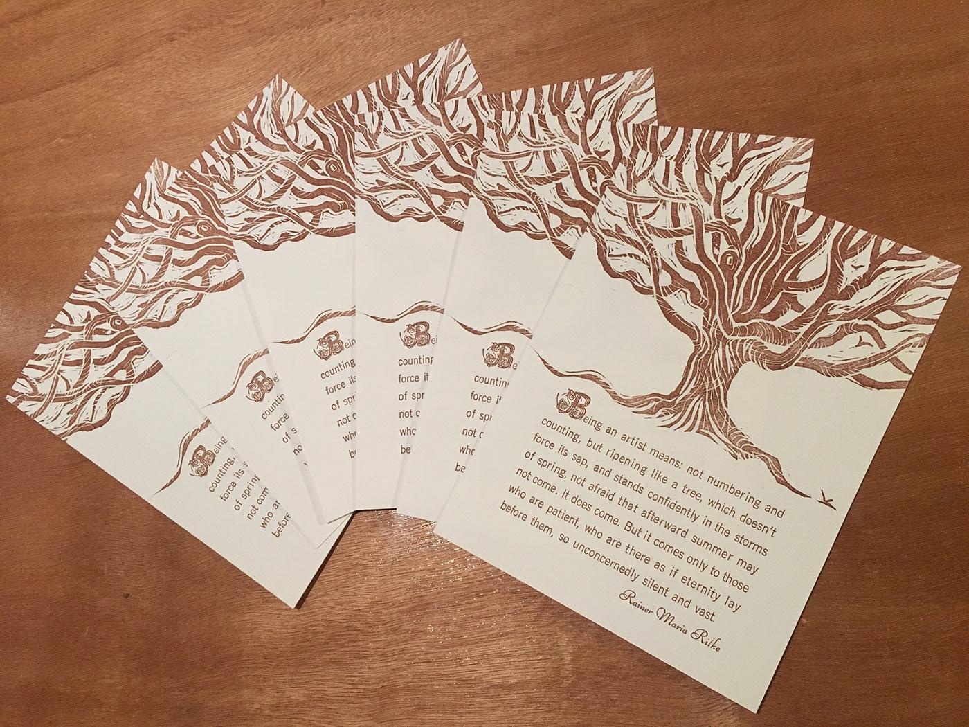 Book Arts broadside carving letterpress linocut Patience poetics printmaking Tree  typesetting