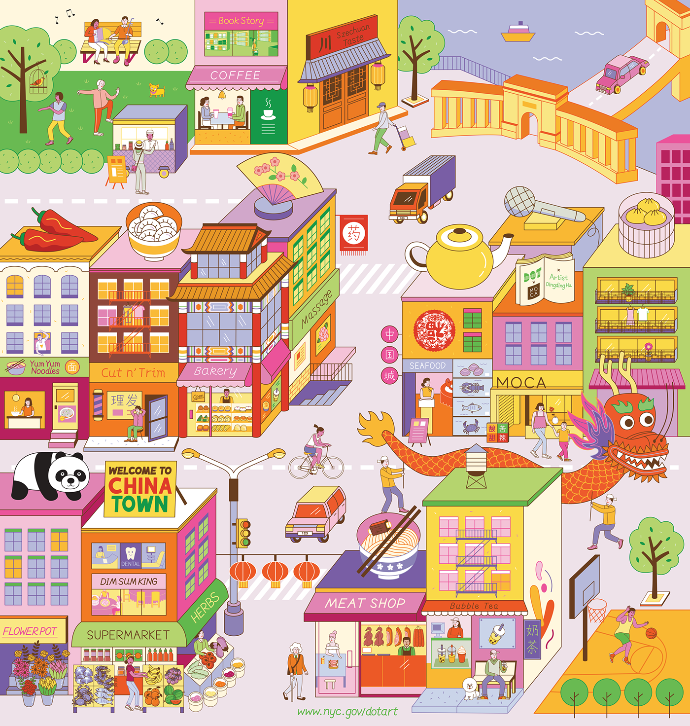 vector art Digital Art  chinatown new york asian american nyc Department of Transportation public art chinese new year delicious chinese food buildings and street people and everyday