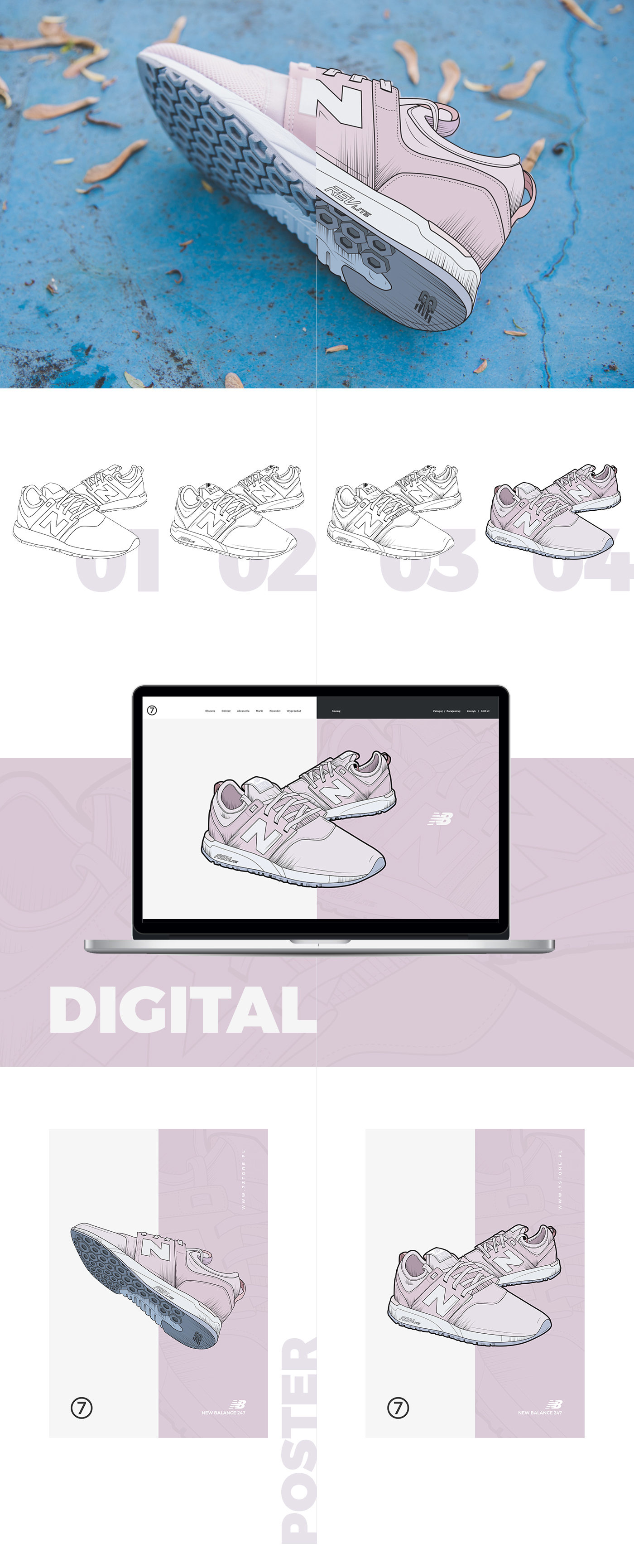 sneakers New Balance shoes poster digital