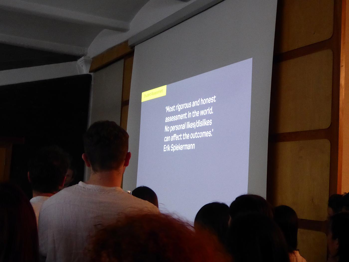 istd student Assessment ceremony typography